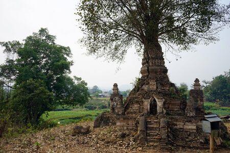 HSIPAW, MYANMAR - CIRCA APRIL 2017 Stupa in Maha Nanja Kantha Monastery Editorial