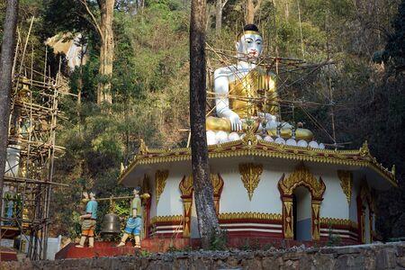 PYIN OO LWIN, MYANMAR - CIRCA APRIL 2017 Buddhist temple and Dat Taw Gyaint Waterfal