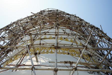 worl: Restoration work on the white pagoda Stock Photo