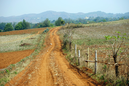 Dirt road and plowed land Stock fotó