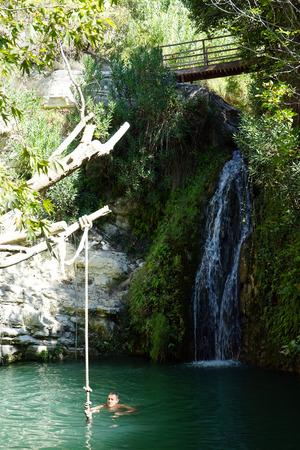 PAPHOS, CYPRUS - CIRCA OCTOBER 2017 Man in the Adonis baths Editorial