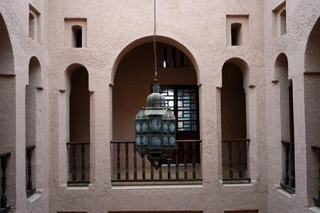 CHEVCHAOUEN, MOROCCO - CIRCA MARCH 2018 Inside palace in kasbah Standard-Bild - 97671607