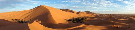 Big dune and two oasises in Sahara desert near Merzuga village in Morocco Standard-Bild - 97705395