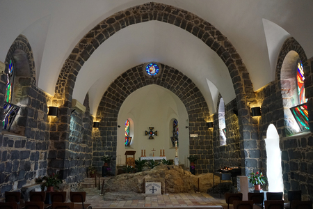 TABGHA, ISRAEL - CIRCA MAY 2018 Inside church of the Primacy of Saint Peter