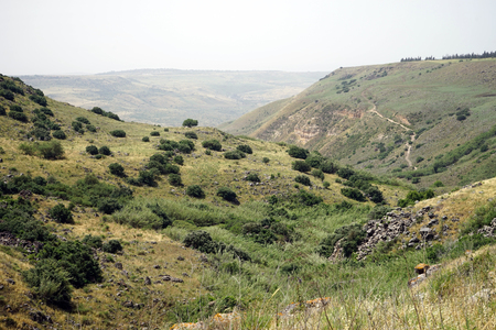 Footpath on the slope of gorge in Galilee, Israel Stock Photo