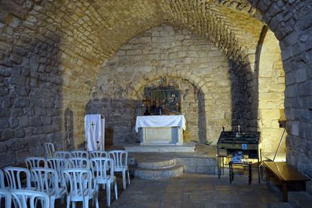 NAZARETH, ISRAEL - CIRCA MAI 2018 Altar in der Synagogenkirche