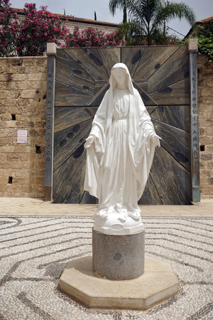 NAZARET, ISRAEL - CIRCA MAY 2018 Sculpture of Virgin Mary near Basilica of the Annunciation