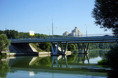 MOS Bridge and Moscow River in Brateevo district