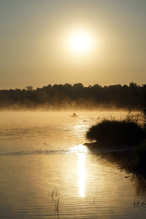 Sunrise and Oka river near Moscow, Russia