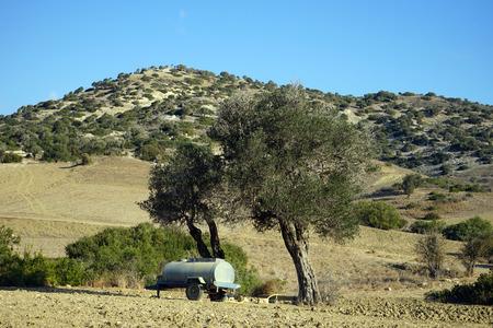 Tank under tree and plowed farmland