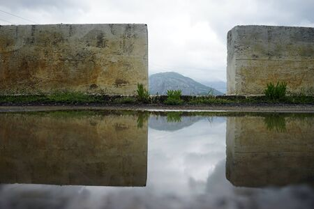 Pool and concrete wall on the mountain road