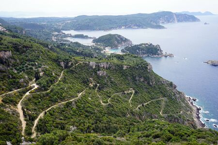 View from Angelokastro fortress on the west coast of Corfu island, Greece Stock Photo