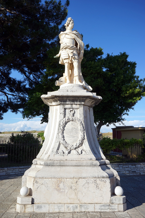 CORFU, GREECE - CIRCA MAY 2019 Monument to Schulenburg, Marshall of the Venetian forces