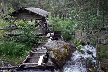 Water sawmill in the forest in Norway Stockfoto