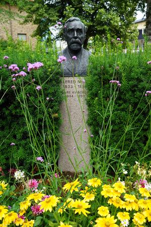 KARLSKOGA, SWEEDEN - CIRCA JULY 2019 Alfred Nobel sculpture in city park