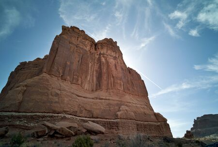 Arches National Park with dramatic late-day sun. Stock Photo
