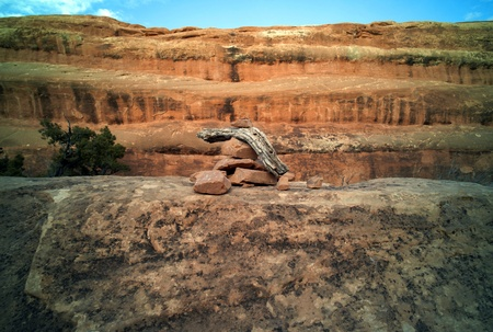 Rock direction sign Direction sign in Arches National Park.