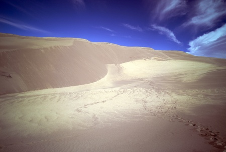 Footprints in sand dunes Stock Photo