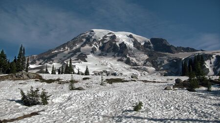 Close landscape of the snow mountain - Mount Rainier in morning.