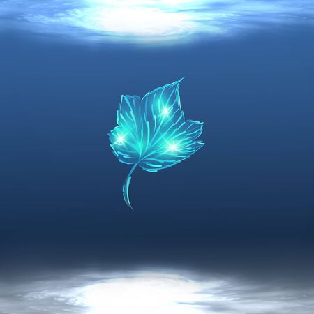 A shining leaf floats or dances in blue pool water.