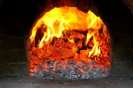 fireplace bellows: Flame of fire in the furnace