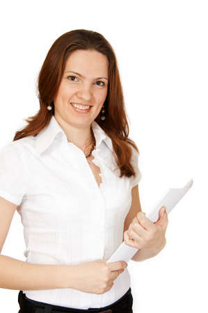 The woman with a paper on white Stock Photo - 2823673