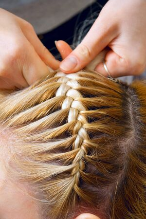 Close-up of weaving of a plait Stock Photo - 4404584