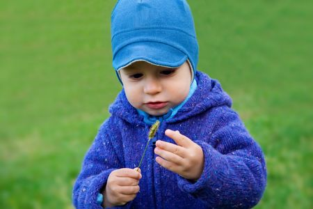 Portrait of adorable toddler on grass photo