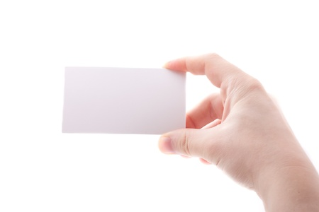 Hand with business card isolated on white Stock Photo