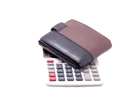 Wallet with calculator isolated on white Stock Photo