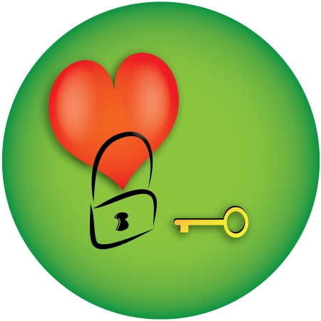 Heart with key and lock Illustration