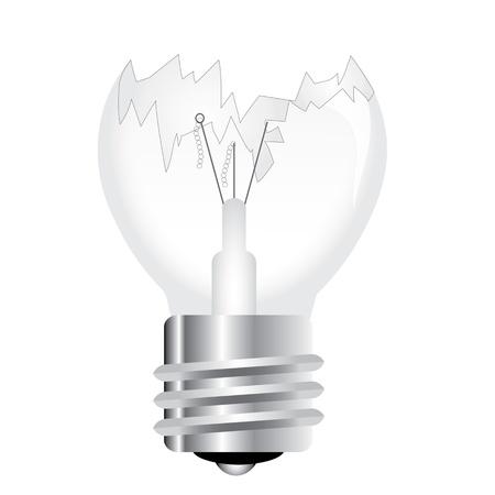 gray bulb: Broken light bulb Illustration