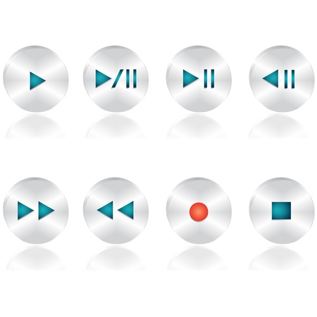 Audio buttons set Stock Vector - 16819134