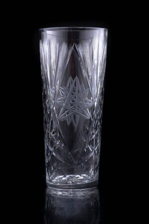 Crystal glass isolated on black background