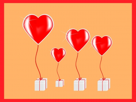 Hearts with presents Vector