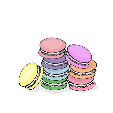 Stack of colorful macaroon almond cakes, sketch style vector illustration isolated on white background.