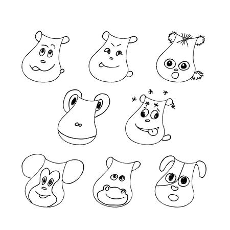 Funny pet faces set.