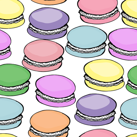 Sweet delicious colorful macarons pattern background.