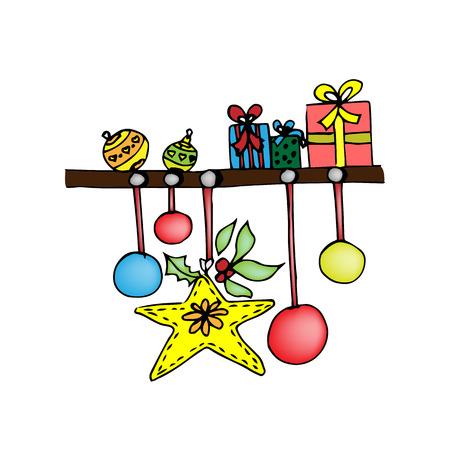 Shelf with Christmas presents.