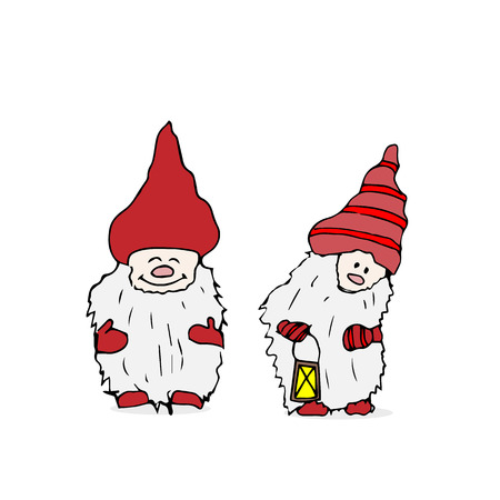Outline set of Trolls gnomes Illustration
