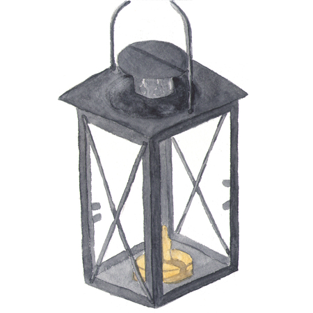 winter garden: Watercolor traditional black lantern with candle. Hand painted Christmas lantern on white background for design, print