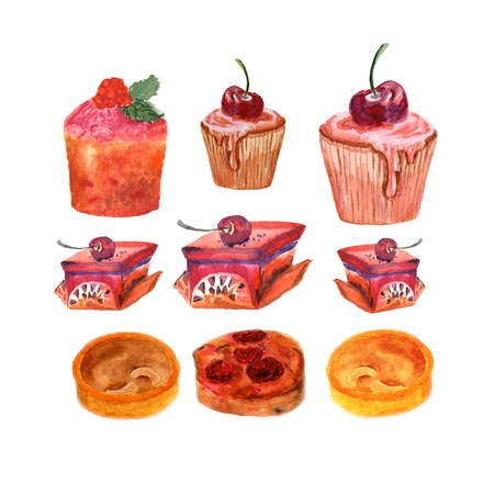 Watercolor set of different desserts. Illustration, sketch on white Stock Photo