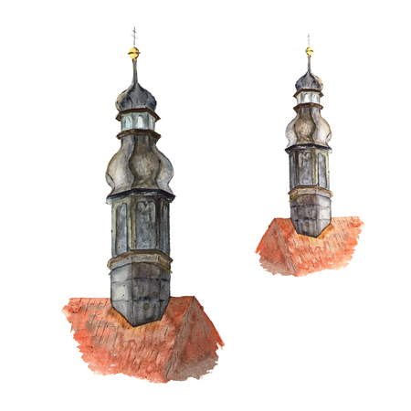 windows and doors: Watercolor sketch of castle roof with tower. Illustration of part of the building, architecture on white Stock Photo