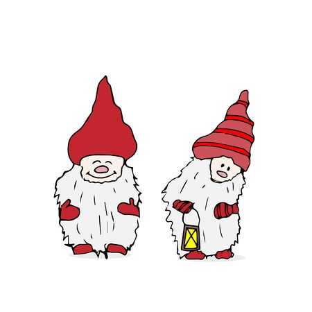 Outline set of Trolls gnomes with beards and long hats. Funny characters for Christmas.  illustration on white Stock Photo