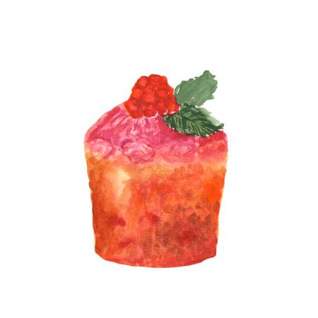 Watercolor dessert. Illustration, sketch on white background Stock Photo