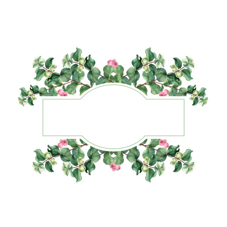 Watercolor Christmas floral banner. Hand painted floral garland with snowberry isolated on white background. Holiday clip art Banco de Imagens