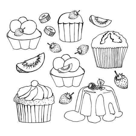 Cakes, cupcakes and pastry desserts.  muffin, creamy pie or tarts with strawberry and kiwi on whipped cream topping, waffle biscuit and cookies for bakery shop, cafe or patisserie