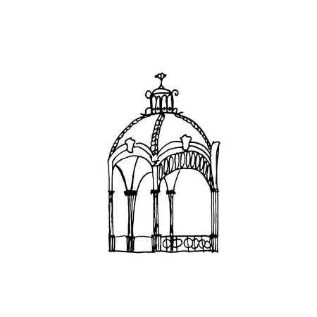 Hand drawn vector illustration, pavilion with roof. Illustration