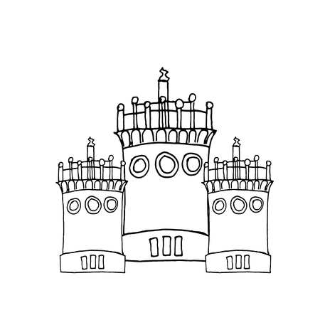 Liner painting castle on white vector illustration. Çizim