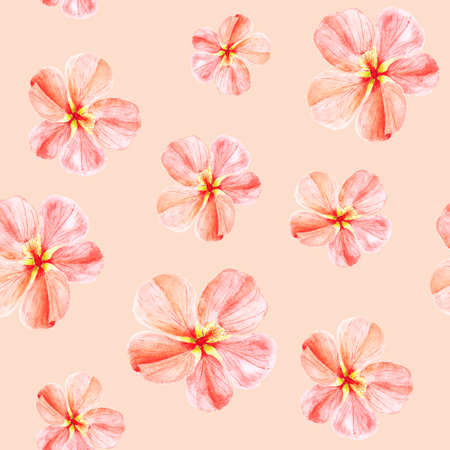 Handpainted watercolor seamless pattern with red mallow flowers Abutilon on peach background 스톡 콘텐츠